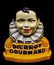 Pierrot Gourmand, présentoir à sucettes en plâtre peint, vers 1955